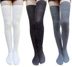 AM Landen Thigh High Socks Boot Socks Leg Warmer Over Knee High Socks Cable Knit Socks(Black+Blue) at Amazon Women's Clothing store: