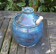 Honey jar with dipper stoneware handthrown lidded ceramic pottery ceramics  Caractacus Pots