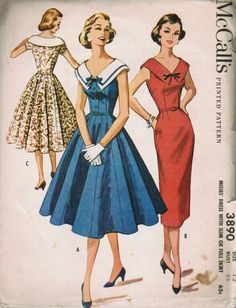 McCalls 3890 - a 60s (1956) Dress in sheath or full skirt style features fitted bodice with large square bateau collar. Matching belt. Bodice has three button closure and bow accent.