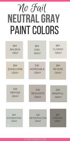 Best 11 Need the best gray paint colors? These light gray paint colors are the best gray paint colors sherwin williams and benjamin moore! Plus see gray paints compared including stonington gray, revere pewter, edgecomb gray, classic gray and more! Neutral Gray Paint, Light Grey Paint Colors, Best Gray Paint Color, Gray Wall Colors, Paint Colours, Greige Paint Colors, Gray Color Schemes, Gray Owl Paint, Pallets