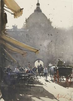 Watercolor Paintings Joseph Zbukvic is an artist from Zagreb, Croatia. He is a leading master of watercolor medium of this era. Art Aquarelle, Watercolor Artists, Watercolor Landscape, Watercolor And Ink, Landscape Paintings, Watercolor Paintings, Watercolours, Landscapes, Watercolor Architecture