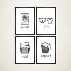Laundry Wall Art, Set of 4 Funny Wash Dry Fold Repeat Room Decor Poster for Laundry Laundry Room Quotes, Laundry Room Wall Decor, Laundry Room Signs, Room Decor, Laundry Room Pictures, Art Decor, Laundry Shop, Laundry Art, White Laundry Rooms
