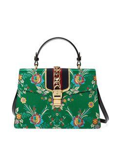 Sylvie Floral Jacquard Top-Handle Bag, Green Multi by Gucci at Neiman  Marcus. 872bfa45e35
