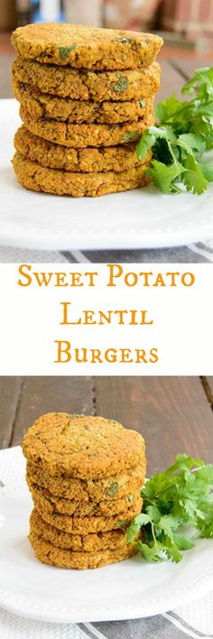Easy Sweet Potato Lentil Burgers - make these simple veggie burgers tonight for a a fun twist on dinner!This easy recipe is low fat, gluten free and vegan and ready in no time! Vegan Foods, Vegan Dishes, Vegan Vegetarian, Vegetarian Recipes, Healthy Recipes, Vegetarian Barbecue, Lentil Burgers, Vegan Burgers, Mini Burgers