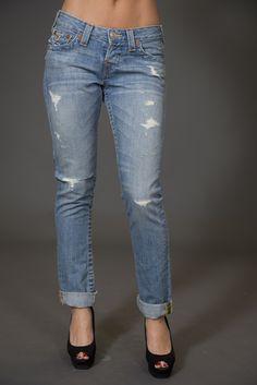 True Religion distressed boyfriend jeans