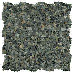"Kamyk 12.25"" x 12.25"" Pebble Stone Mosaic Tile in Green"