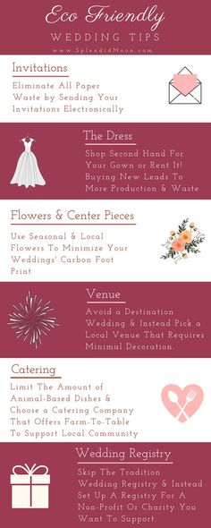 Wedding Planning Eco Friendly Wedding Tips Info graphic. Find Out More Helpful Tips at Splendid Moon. Wedding Planning Tips, Wedding Tips, Event Planning, Wedding Events, Wedding Favors, Wedding Themes, Wedding Reception, Destination Wedding, Wedding Invitations