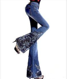 Envío gratis 2015 mujeres pantalones nuevos lujo mediano cintura moldeada hechos a mano bordado calado Bell Bottoms Jeans mujeres pantalones azul en Jeans de Moda y Complementos Mujer en AliExpress.com | Alibaba Group