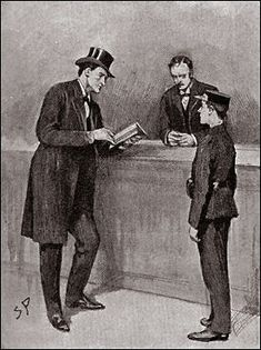 The Hound of the Baskervilles  Chapter IV, Sir Henry Baskerville,  SIDNEY PAGET,The Strand Magazine, September 1901, 'NOW, CARTWRIGHT, THERE ARE THE NAMES OF TWENTY-THREE HOTELS HERE...'