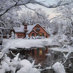 Giethoorn - Holland. Cottage in the snow