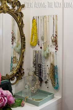DIY jewelry station! Love these easy closet ideas you can steal for your home!