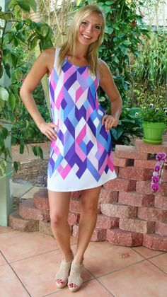 Blue & Pink Geometric Print Sleeveless Dress