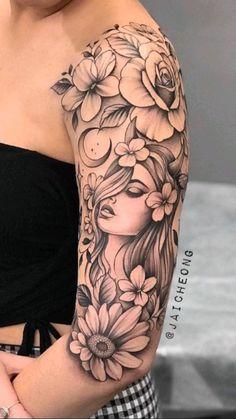Leg Tattoos Women, Girls With Sleeve Tattoos, Arm Sleeve Tattoos, Girly Sleeve Tattoo, Portrait Tattoo Sleeve, Dope Tattoos, Unique Tattoos, Beautiful Tattoos, Body Art Tattoos