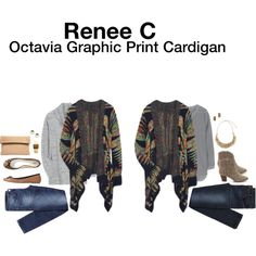 """""""Octavia Graphic Print Cardigan"""" by hanger731x on Polyvore"""