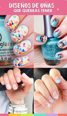En este post te comparto 7 diseños de uñas para este verano que te van a encantar. Aztec Nails, Short Nails Art, Professional Nails, Nail Decorations, Diy Nails, Pedicure, Hair And Nails, Nail Art Designs, Nail Polish