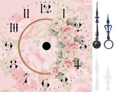 Pink rose printed clock face with clock hands Clock Art, Diy Clock, Vintage Pictures, Vintage Images, Rose Clock, Clock Flower, Couleur Rose Pastel, Decoupage Paper, Miniture Things