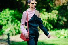 Woman wearing green and pink Paris Street, Catwalk, Outfit Of The Day, Cool Style, Overalls, Women Wear, Street Style, Style Inspiration, How To Wear