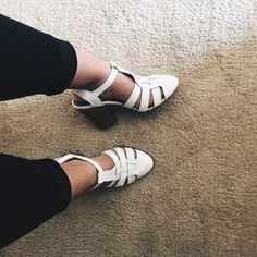 ShoeMint | White Heel Sandal Wore once! Still in perfect condition! Very Comfy and true to size. Couple marks on the front and side, see picture 3. But not noticeable and will clean as much as possible! (No trades) offer only thru offer button. Shoemint Shoes Sandals