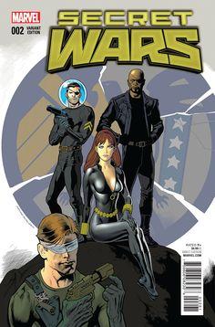 Secret Wars #2 variant cover - Nick Fury, Nick Fury Jr., Black Widow and Daredevil by Kevin Nowlan (Marvel)