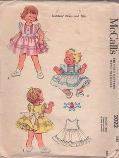 MOMSPatterns Vintage Sewing Patterns - McCall's 2022 Vintage 50's Sewing Pattern DIVINE Toddler Girls Fancy Pagaent or Party Dress, Bouffant Full Slip, FRILLY Size 2