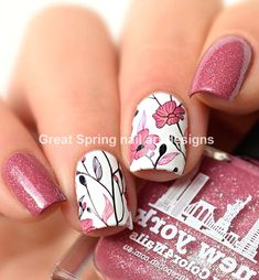 20 große Spring Nail Designs 2019 - only nails Flower Nail Designs, Flower Nail Art, Nail Designs Spring, Nail Art Designs, Spring Nail Art, Spring Nails, Summer Toenails, Red Nails, Hair And Nails