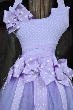 Tutu Hair Bow Holder Purple with white polka dots. $45.00, via Etsy.