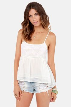 Billabong Dreamt of U Ivory Lace Tank Top at LuLus.com!