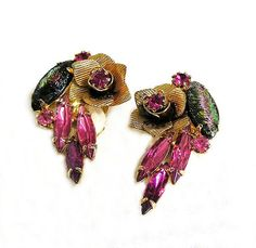 Fabulous DeLizza and Elster Clip on Earrings Pink and Green