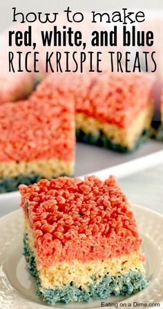 How to make these 4th of July rice Krispie Treats - these are very easy to make.