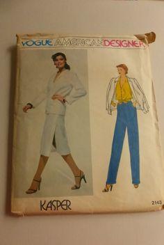 Vintage Vogue American Designer Kasper Pattern 2143 Misses Jacket Skirt Pants and Blouse Size 8 Factory Fold by VintagePatternDrawer on Etsy
