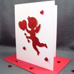 Cupid Valentines Card -  VDay Card - Romatic Valentines Day Card. $4.95, via Etsy.