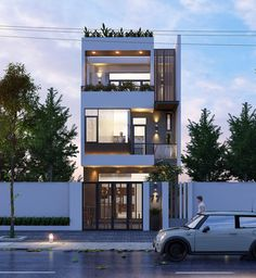 New Ideas For Exterior Architecture Facade Window Narrow House Designs, Modern Small House Design, Narrow House Plans, Small House Exteriors, House Front Design, House Exterior Design, House Window Design, Exterior Houses, Bungalow Exterior