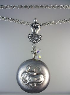 Antique Silver SILVER BUNNY RABBIT Baby RATTLE Charm Pendant NECKLACE Victorian HAND-n-bunrt