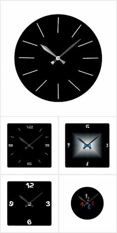 A classy collection of simplistic clocks in black and white. Included are grey stone ,and artistic effects in red white Plain Black, Red And White, Red Clock, White Clocks, Grey Stone, Dining Rooms, Living Room Decor, Kitchens, Collections