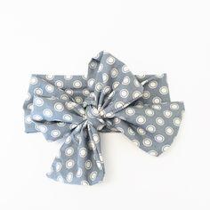 Glacier Grey Polka Dot Vintage Inspired Head Wrap  $14.00