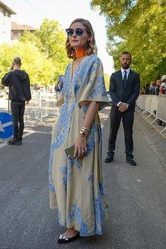 Olivia Palermo wearing Fendi Cat Eye Sunglasses, Alberta Ferretti Embellished Velvet Mules and Bvlgari Serpenti Watch