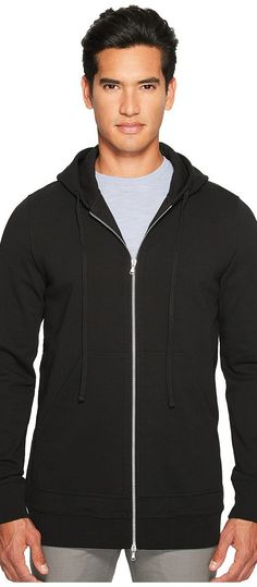 Vince Long Line Zip-Up Hoodie (Black) Men's Sweatshirt - Vince, Long Line Zip-Up Hoodie, M39789338-001, Apparel Top Sweatshirt, Sweatshirt, Top, Apparel, Clothes Clothing, Gift, - Fashion Ideas To Inspire
