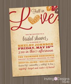 Fall in Love Bridal Shower Invitation, Love, Leaves, Heart, Autumn, Orange, Red, Brown, Rustic, Customize Your Color (PRINTABLE FILE)