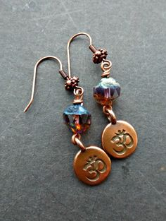 Ohm copper charms and Czech Picasso glass earrings. Small earrings. yoga. -  - McKee Jewelry Designs - 1