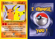 This listing is for a DIGITAL FILE of POKEMON Valentines Day card. No physical items will me mailed. You will receive a PDF file with 4 invitations and you can print as many as youd like.  ***PERSONALIZATION IS AVAILABLE UPON REQUEST***  YOU WILL RECEIVE 2 SEPARATE FILES via INSTANT DOWNLOAD. One with Pikachu (Lovechu) and the other one with Pikachu and friend (buddychu). You can print front and back to make it look like the card.  Invitations are 2.5x 3.5 when folded. One side will have…