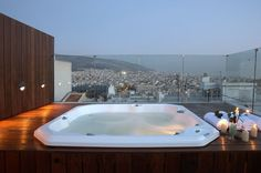 Welcome to Periscope, a modern 4 Star Hotel in Athens. Periscope is one of the most famous Kolonaki Hotels, located in the best neighbourhood of Athens city center and only 10 minutes walk from Syntagma square. Athens Hotel, Athens City, Athens Greece, Spas, Hotel Design Architecture, Greece Hotels, Hotel Pool, Beautiful Hotels, Jacuzzi