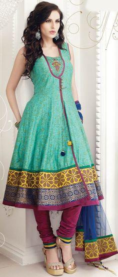 Pastel Green Flair #Cotton #Churidar Kameez With Dupatta @ $152.01   Shop Now @ http://www.utsavfashion.com/store/sarees-large.aspx?icode=kgf3237