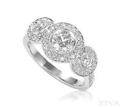 Three-Stone Engagement Ring in Bezel Setting with Diamond Halos