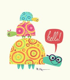 Hello designed by Matt Kaufenberg. Connect with them on Dribbble; the global community for designers and creative professionals. Hello Design, Tortoise Turtle, Cute Turtles, Turtle Love, Cute Illustration, Art Lessons, Art For Kids, Cute Pictures, Character Design