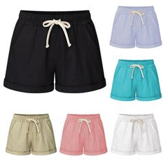 Womens Harem Elastic Waist Baggy Casual Shorts Pants Trousers Plus Size Outfits Plus Size, Plus Size Shorts, Looks Plus Size, Elastic Waist Pants, Cropped Trousers, Plus Size Women, Casual Shorts, Gym Shorts Womens, Short Dresses