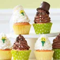 Bride and Groom Cupcakes Recipe -Who doesn't love a bitty bite of cake? For party-day ease, make the cupcakes one month before and freeze. Prep the accessories two days ahead and store at room temp in an airtight container. Whip up the frosting and assemble the cupcakes in no time on the big day! —Taste of Home Test Kitchen