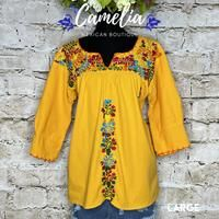 San Antonio Mexican Blouse - 3/4 Sleeve – Camelia Mexican Boutique Mexican Blouse, Mexican Top, Mexican Dresses, San Antonio, Muslin Fabric, Cotton Thread, Color Patterns, Favorite Color, Size Chart