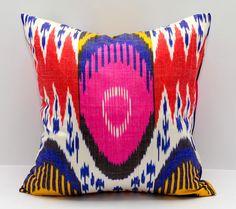 15x15 ikat pillow cover, cushion, pillow case, cushion cover pillowcase, pink, red, cream, blue, yellow, sofa pillow, decorative pillow