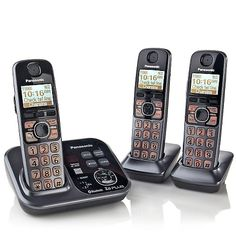 Panasonic DECT 6.0 PLUS 3pk Link2Cell Cordless Phones-- Link my cell phone to this phone. Talking caller ID, Numbers are lit up. lots more goodies!