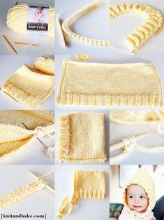 Kyla's Hoodie [Easy Baby Bonnet Knitting Pattern] Baby Hat Knitting Pattern, Baby Hats Knitting, Knitting For Kids, Easy Knitting, Knitting Yarn, Knitted Hats, Bonnet Pattern, Diy Tricot Crochet, Knit Or Crochet